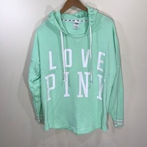 LOVE PINK Seafoam Mint Green Terry Pullover Size L